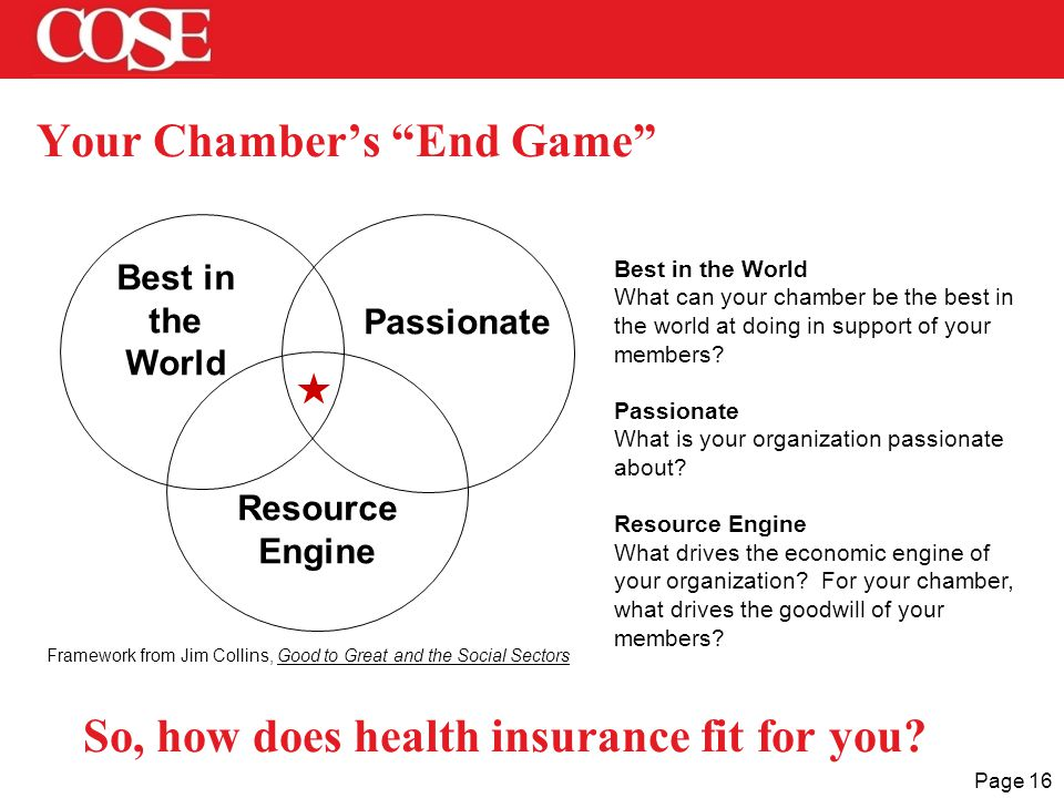 Page 16 Your Chamber's End Game  Best in the World Passionate Resource Engine Best in the World What can your chamber be the best in the world at doing in support of your members.