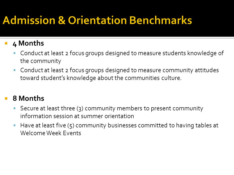  4 Months  Conduct at least 2 focus groups designed to measure students knowledge of the community  Conduct at least 2 focus groups designed to measure community attitudes toward student's knowledge about the communities culture.