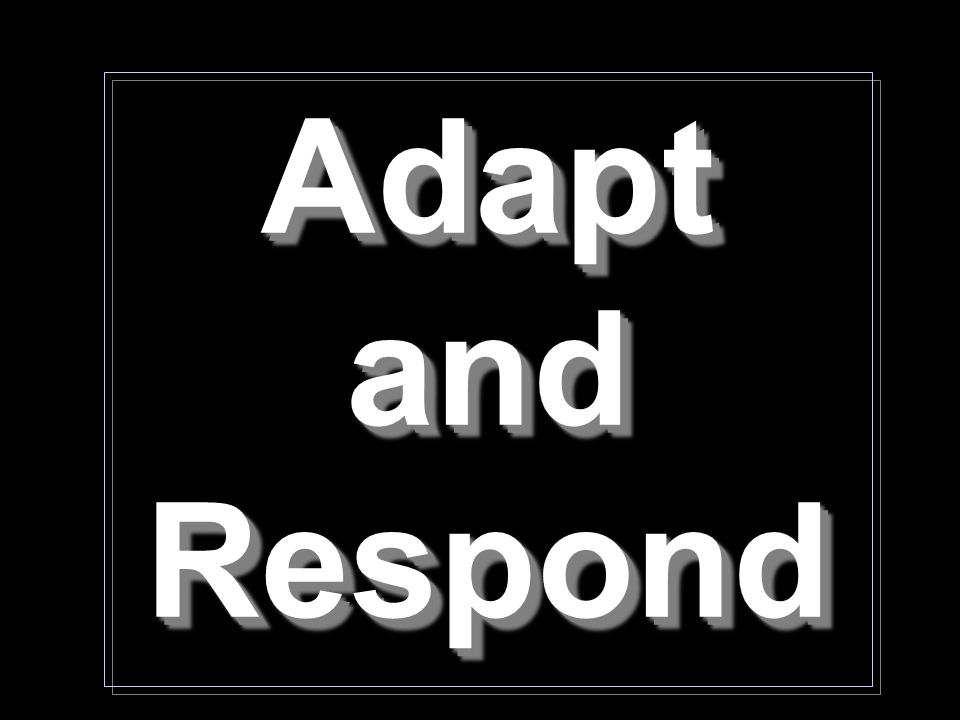 Adapt and Respond Adapt and Respond
