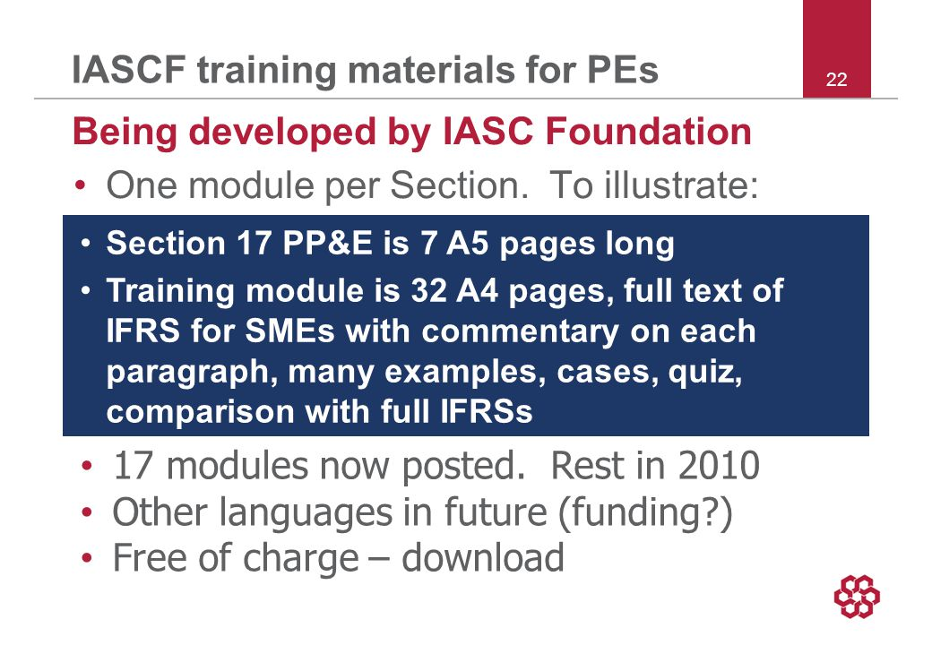 22 IASCF training materials for PEs Being developed by IASC Foundation One module per Section.
