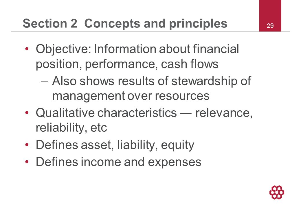 29 Section 2 Concepts and principles Objective: Information about financial position, performance, cash flows –Also shows results of stewardship of management over resources Qualitative characteristics ― relevance, reliability, etc Defines asset, liability, equity Defines income and expenses