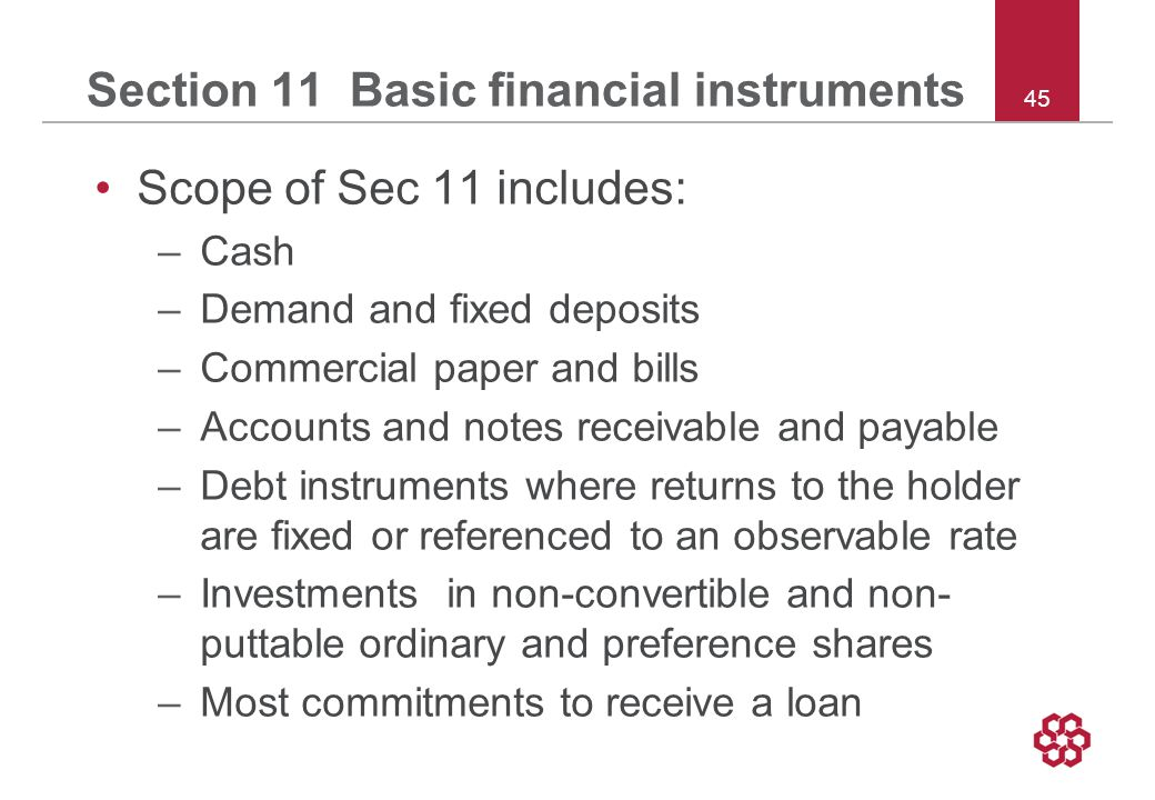 45 Section 11 Basic financial instruments Scope of Sec 11 includes: –Cash –Demand and fixed deposits –Commercial paper and bills –Accounts and notes receivable and payable –Debt instruments where returns to the holder are fixed or referenced to an observable rate –Investments in non-convertible and non- puttable ordinary and preference shares –Most commitments to receive a loan