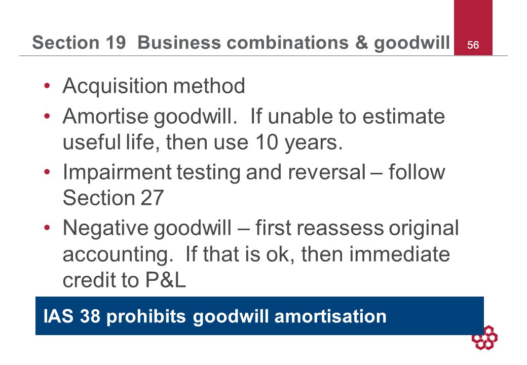 56 Section 19 Business combinations & goodwill Acquisition method Amortise goodwill.