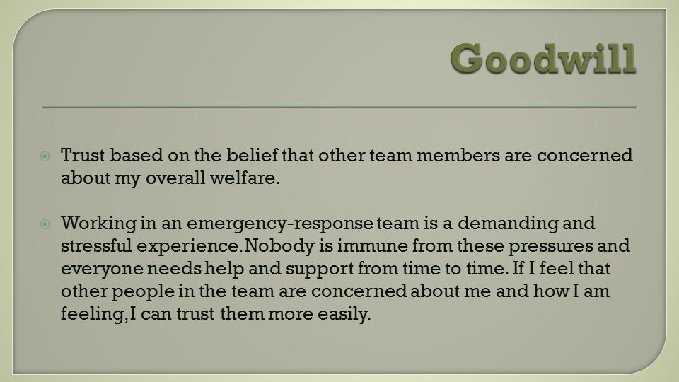  Trust based on the belief that other team members are concerned about my overall welfare.