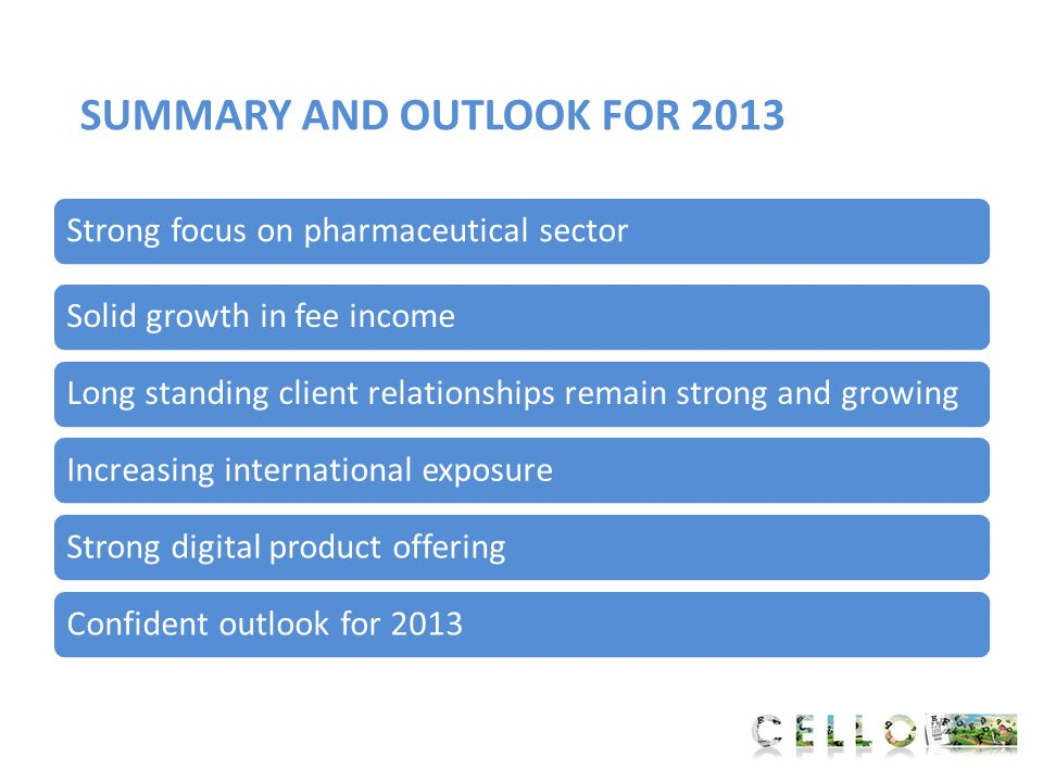 SUMMARY AND OUTLOOK FOR 2013 Solid growth in fee incomeLong standing client relationships remain strong and growingIncreasing international exposureSt