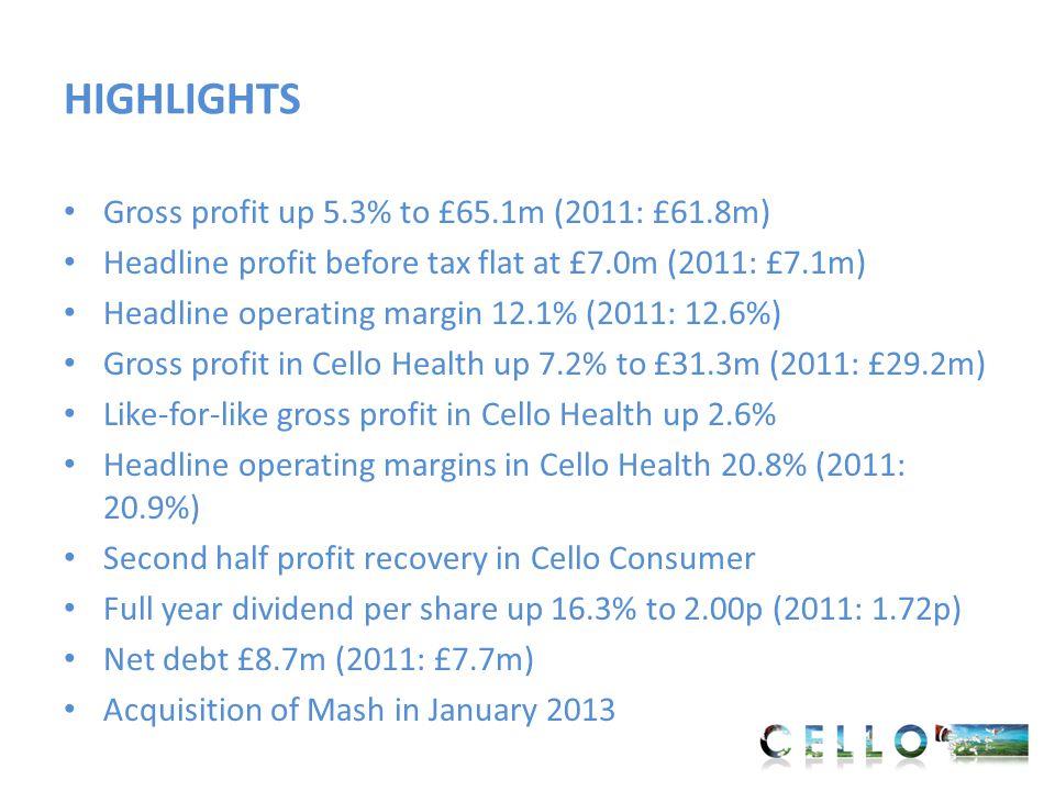SEGMENTAL ANALYSIS 20122011 Headline Gross Profit £m Headline Operating Profit £m Margin % Headline Gross Profit £m Headline Operating Profit £m Margin % Cello Health31.36.520.8%29.26.120.9% Cello Consumer 32.83.09.1%32.63.410.4% Sub total64.19.514.8%61.89.515.3% Central cost-(1.8)--(1.7)- Group64.17.712.1%61.87.812.6% Like-for-like gross profit growth - Health 2.6%; Consumer 0.6%