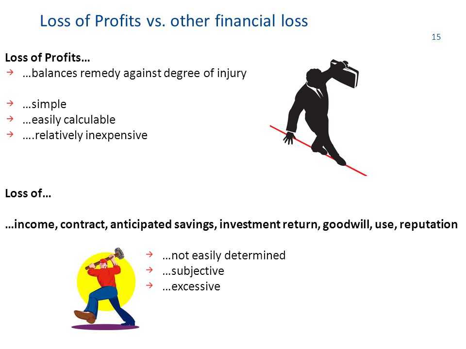 15 Loss of Profits… …balances remedy against degree of injury …simple …easily calculable ….relatively inexpensive Loss of Profits vs. other financial