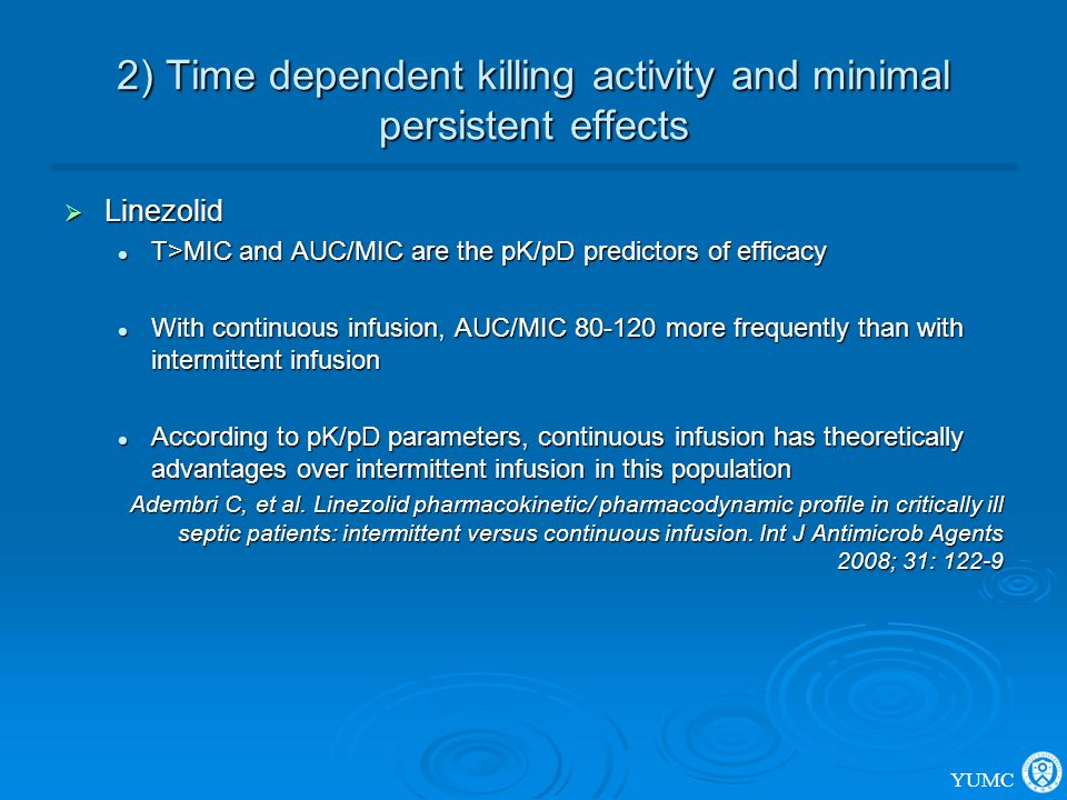 2) Time dependent killing activity and minimal persistent effects  Linezolid T>MIC and AUC/MIC are the pK/pD predictors of efficacy T>MIC and AUC/MIC