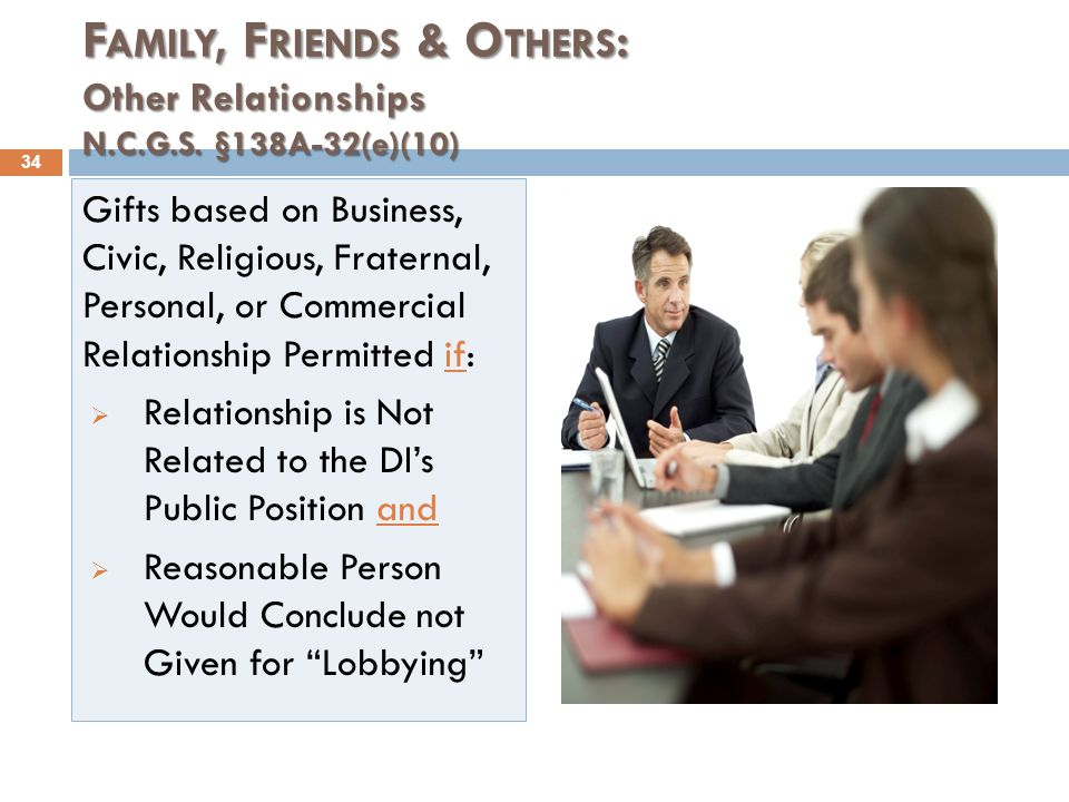F AMILY, F RIENDS & O THERS : Other Relationships N.C.G.S.
