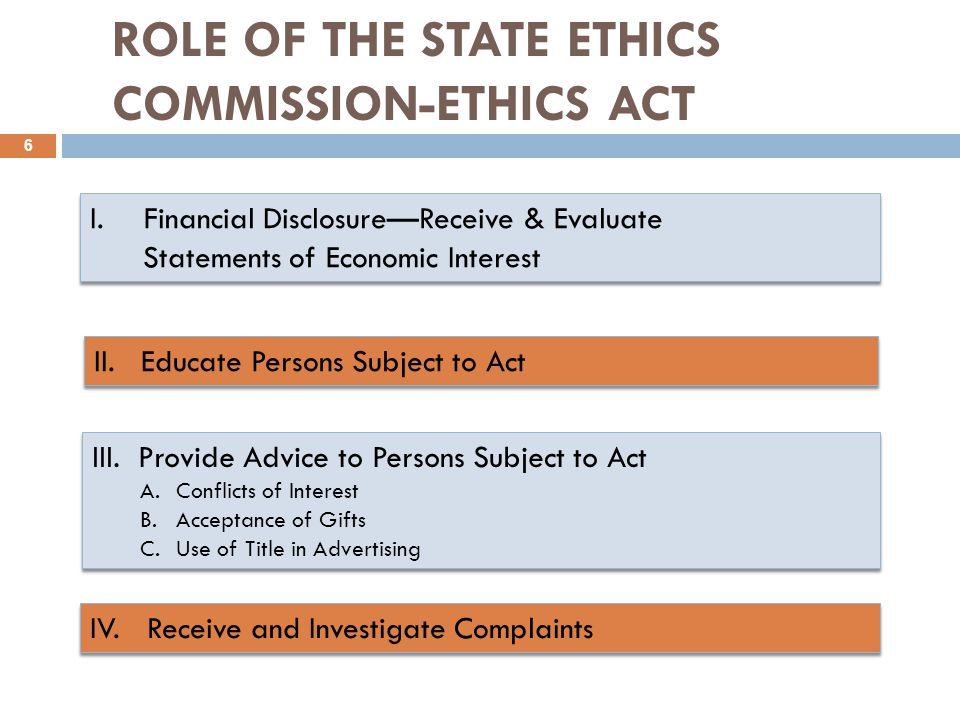 I.Financial Disclosure—Receive & Evaluate Statements of Economic Interest I.Financial Disclosure—Receive & Evaluate Statements of Economic Interest ROLE OF THE STATE ETHICS COMMISSION-ETHICS ACT 6 II.