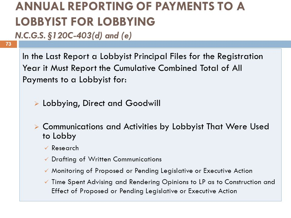 ANNUAL REPORTING OF PAYMENTS TO A LOBBYIST FOR LOBBYING N.C.G.S.