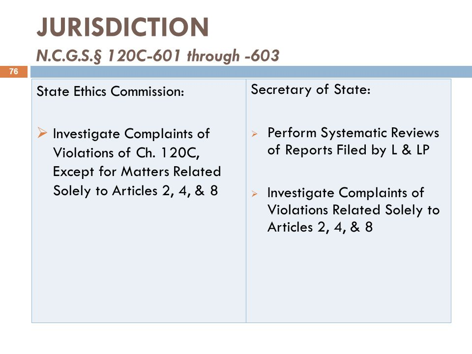 JURISDICTION N.C.G.S.§ 120C-601 through -603 State Ethics Commission:  Investigate Complaints of Violations of Ch.