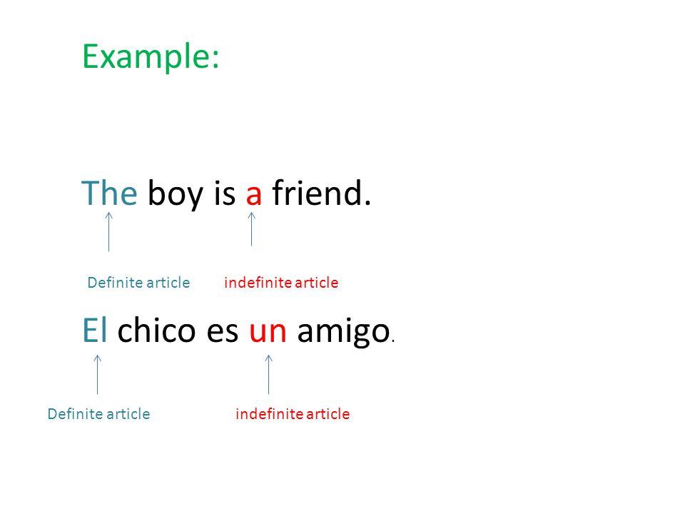 Example: The boy is a friend. El chico es un amigo.
