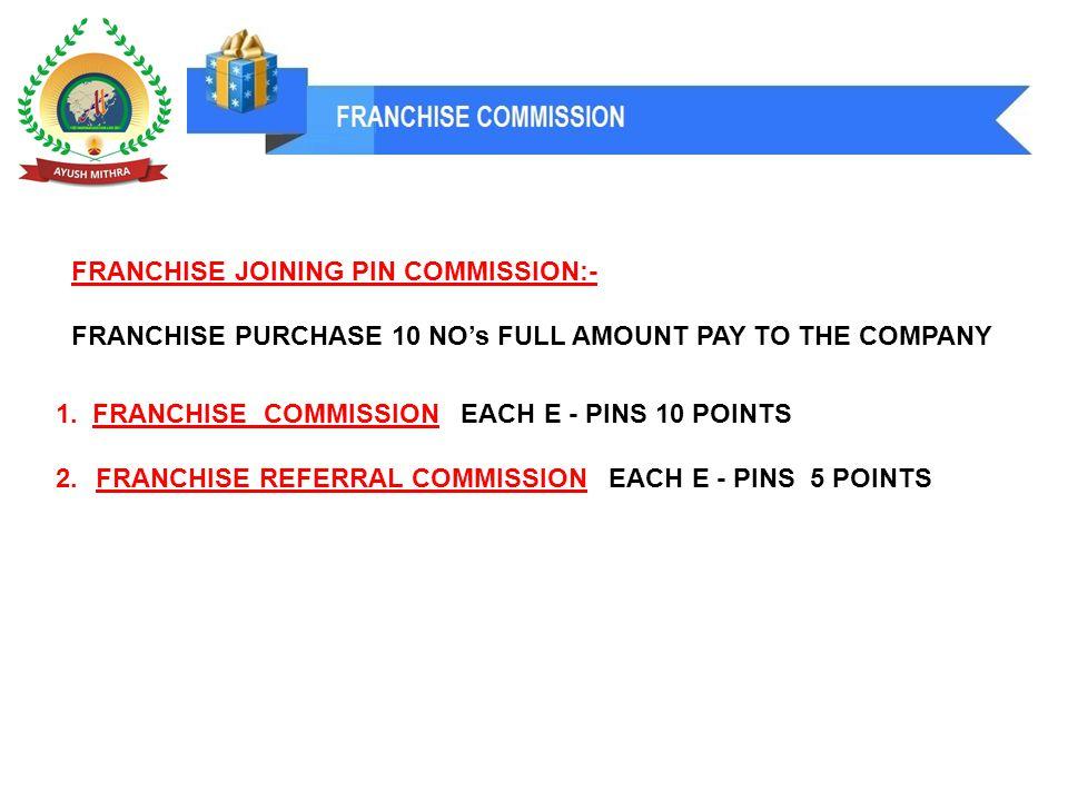 1. FRANCHISE COMMISSION EACH E - PINS 10 POINTS 2.FRANCHISE REFERRAL COMMISSION EACH E - PINS 5 POINTS FRANCHISE JOINING PIN COMMISSION:- FRANCHISE PU