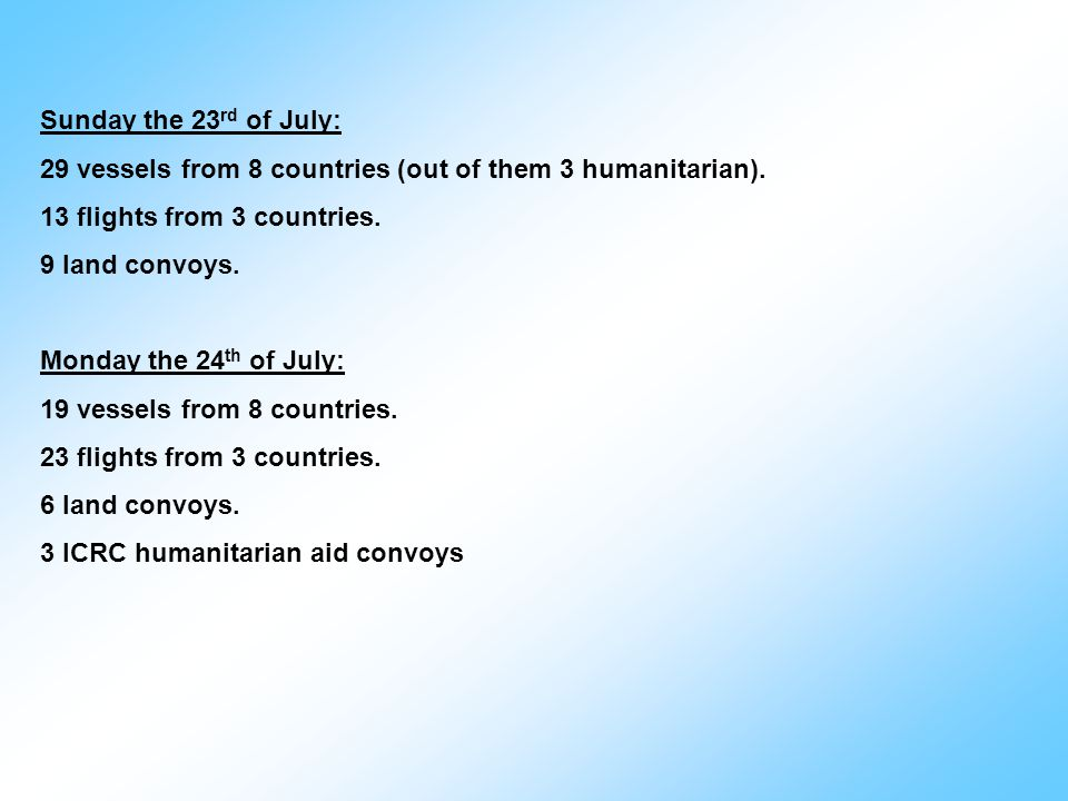 Sunday the 23 rd of July: 29 vessels from 8 countries (out of them 3 humanitarian).