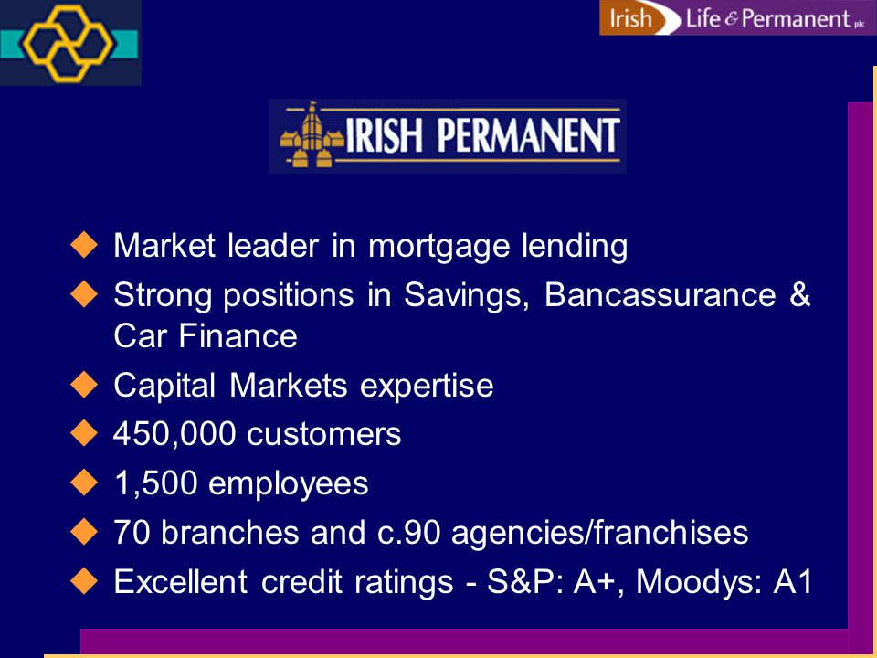 uMarket leader in mortgage lending uStrong positions in Savings, Bancassurance & Car Finance uCapital Markets expertise u450,000 customers u1,500 employees u70 branches and c.90 agencies/franchises uExcellent credit ratings - S&P: A+, Moodys: A1