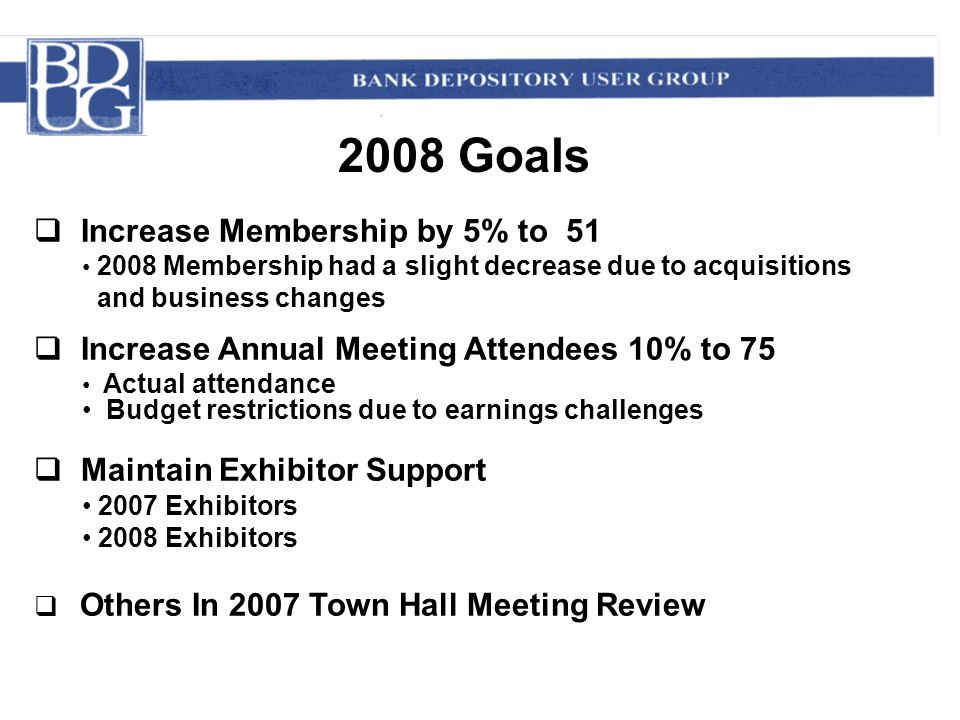 2008 Goals  Increase Membership by 5% to 51 2008 Membership had a slight decrease due to acquisitions and business changes  Increase Annual Meeting