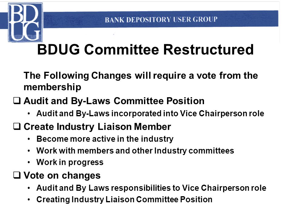 BDUG Committee Restructured The Following Changes will require a vote from the membership  Audit and By-Laws Committee Position Audit and By-Laws inc