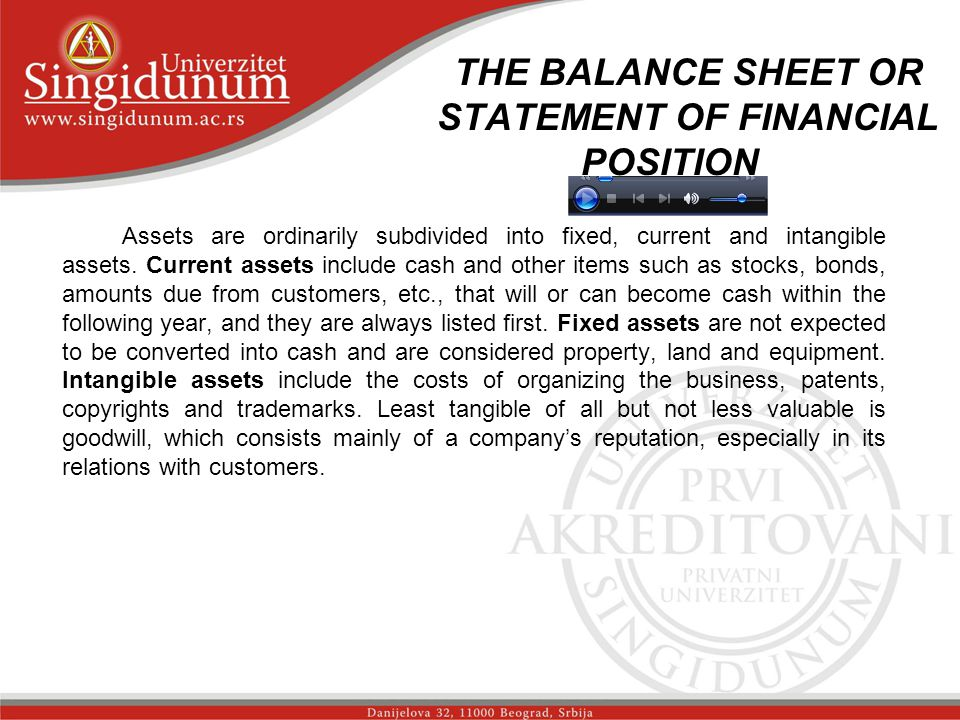 THE BALANCE SHEET OR STATEMENT OF FINANCIAL POSITION str.