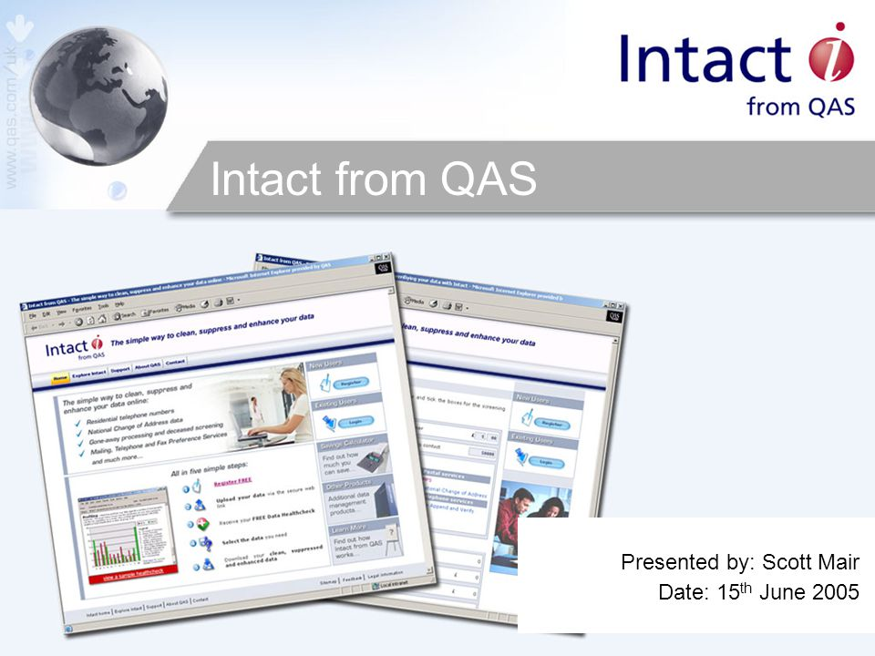 Intact from QAS Presented by: Scott Mair Date: 15 th June 2005