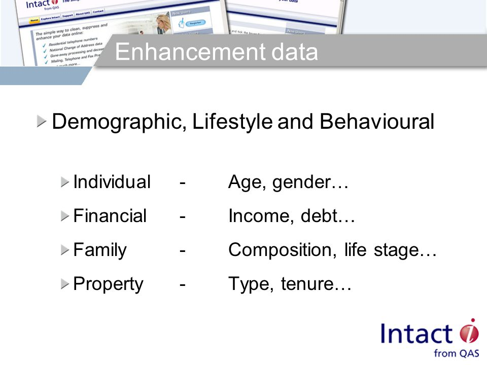 Enhancement data Demographic, Lifestyle and Behavioural Individual-Age, gender… Financial-Income, debt… Family-Composition, life stage… Property-Type, tenure…