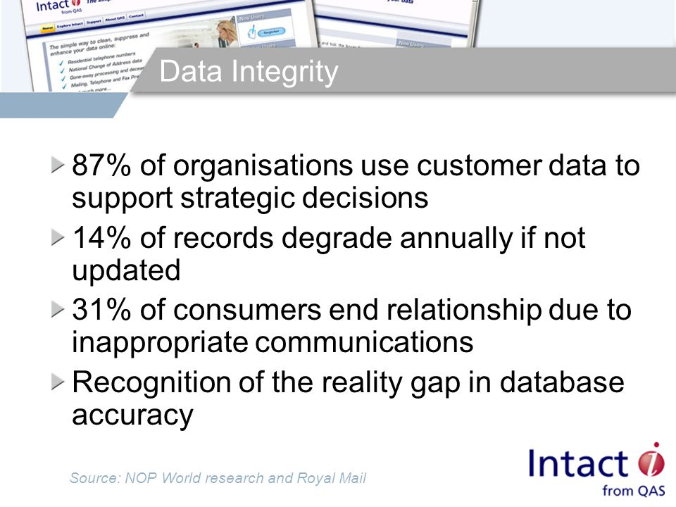 Data Integrity 87% of organisations use customer data to support strategic decisions 14% of records degrade annually if not updated 31% of consumers end relationship due to inappropriate communications Recognition of the reality gap in database accuracy Source: NOP World research and Royal Mail