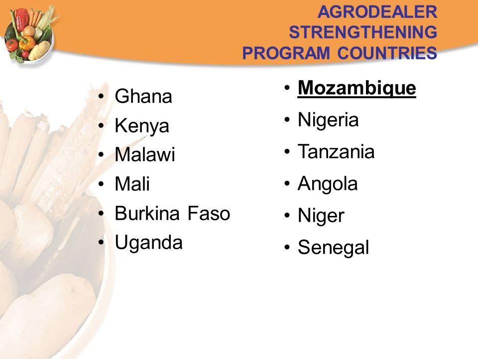Ghana Kenya Malawi Mali Burkina Faso Uganda AGRODEALER STRENGTHENING PROGRAM COUNTRIES Mozambique Nigeria Tanzania Angola Niger Senegal