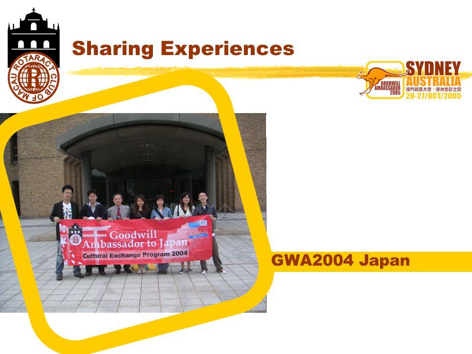 Sharing Experiences GWA2004 Japan