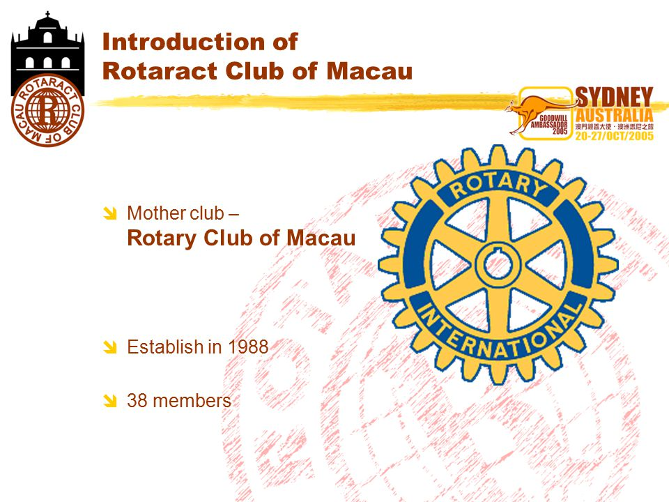 Introduction of Rotaract Club of Macau  Mother club – Rotary Club of Macau  Establish in 1988  38 members  Mother club – Rotary Club of Macau  Establish in 1988  38 members