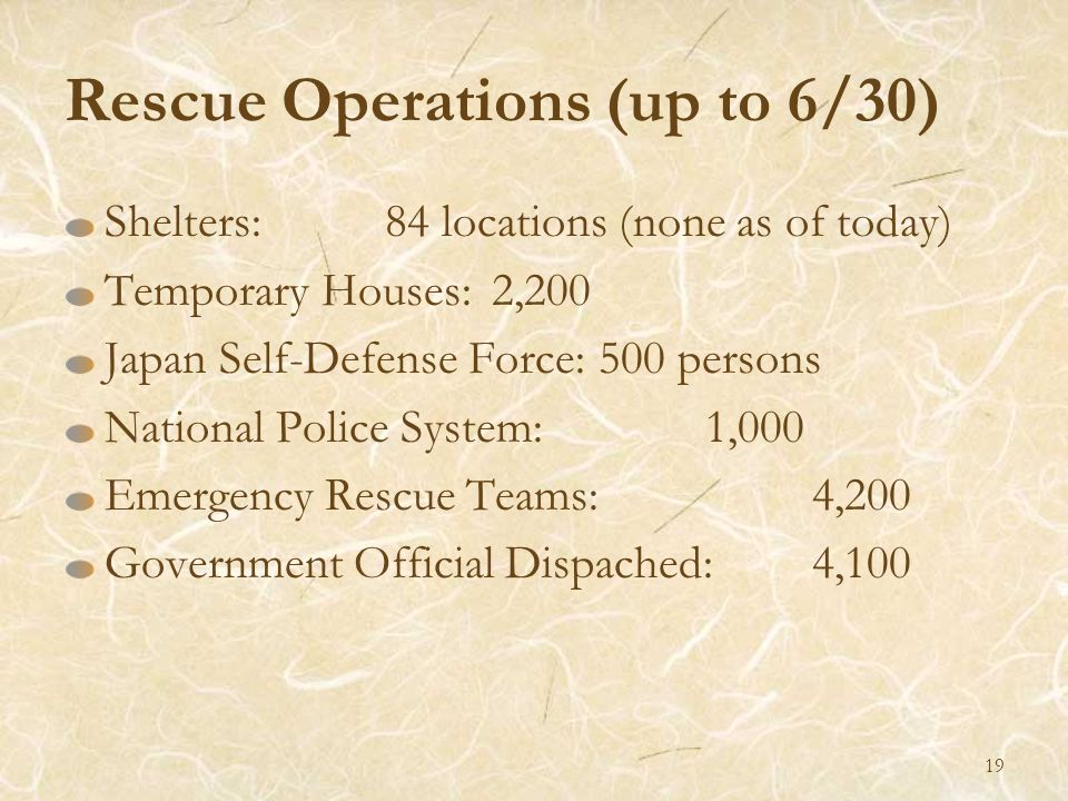 Rescue Operations (up to 6/30) Shelters:84 locations (none as of today) Temporary Houses: 2,200 Japan Self-Defense Force:500 persons National Police S