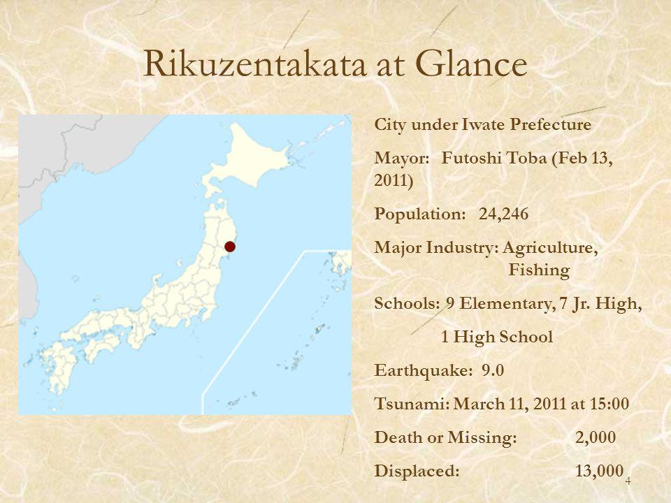 Rikuzentakata at Glance City under Iwate Prefecture Mayor: Futoshi Toba (Feb 13, 2011) Population: 24,246 Major Industry: Agriculture, Fishing Schools