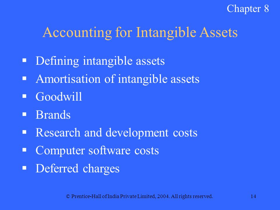© Prentice-Hall of India Private Limited, 2004. All rights reserved.14 Accounting for Intangible Assets  Defining intangible assets  Amortisation of