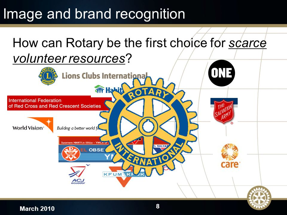 8 March 2010 Image and brand recognition How can Rotary be the first choice for scarce volunteer resources
