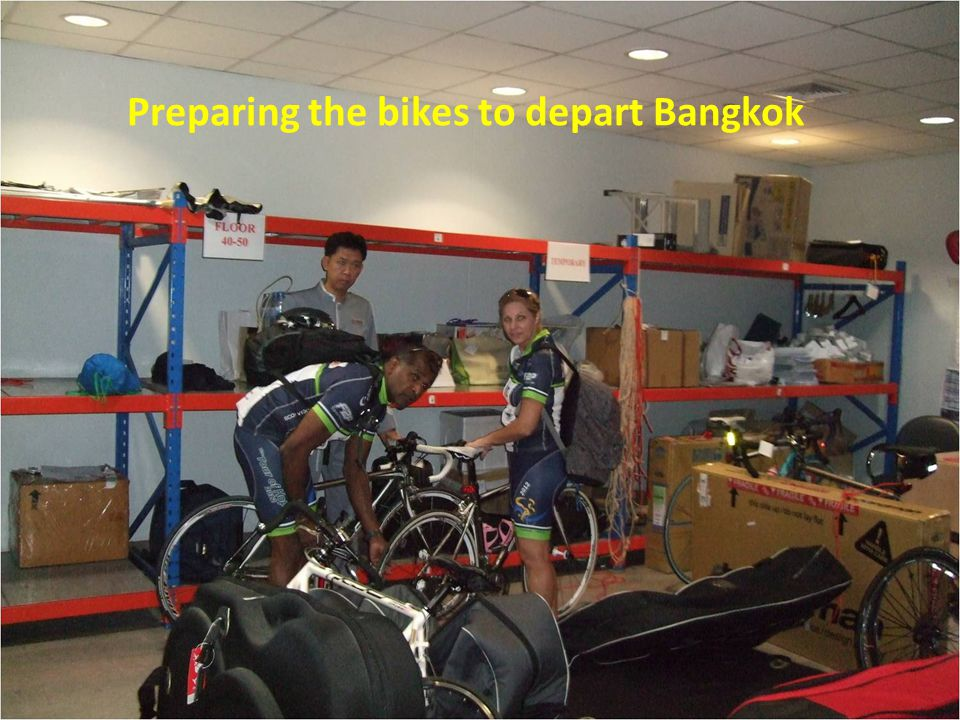 All the bikes racked –up and heading for Cha'am