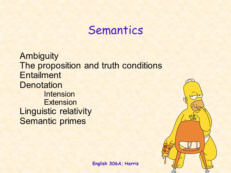 English 306A; Harris 1 Semantics Ambiguity The proposition and truth conditions Entailment Denotation Intension Extension Linguistic relativity Semantic primes
