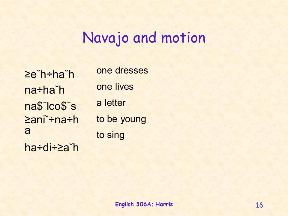 English 306A; Harris 16 Navajo and motion one dresses one lives a letter to be young to sing ≥e˘h÷ha˘h na÷ha˘h na$˘lco$˘s ≥ani˘÷na÷h a ha÷di÷≥a˘h