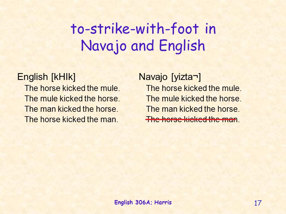 English 306A; Harris 17 to-strike-with-foot in Navajo and English English [kHIk] The horse kicked the mule.