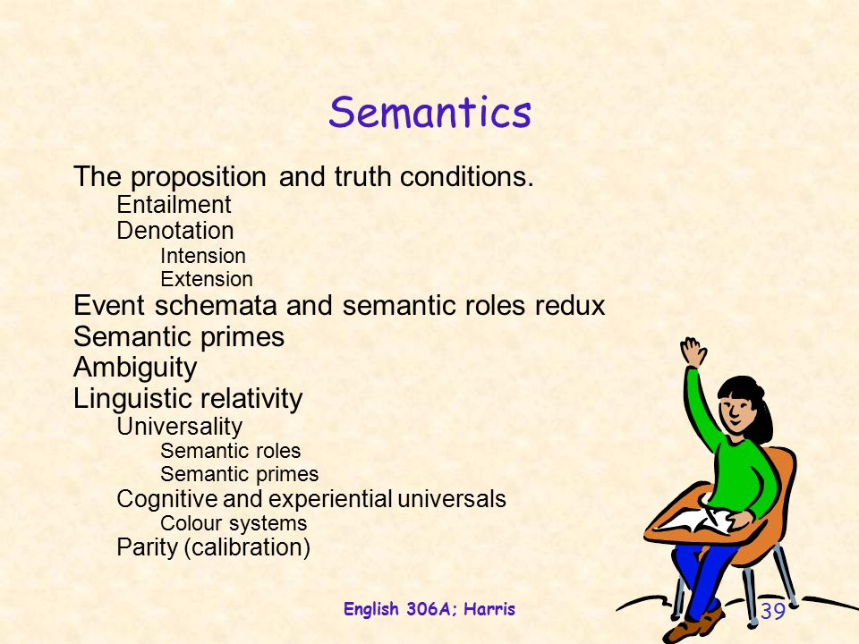 English 306A; Harris 39 Semantics The proposition and truth conditions.