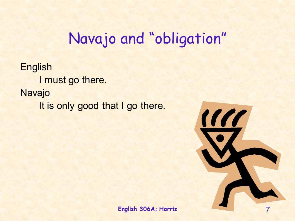 English 306A; Harris 8 Navajo and control English I am riding the horse.