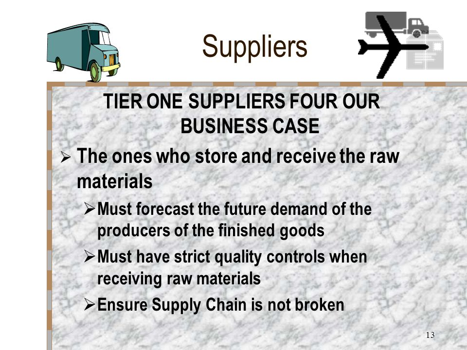 12 Suppliers TIER TWO SUPPLIERS FOUR OUR BUSINESS CASE  The raw material provider into our processors  The grower or harvester of the lettuce  Supply is contracted to ensure no break in supply chain