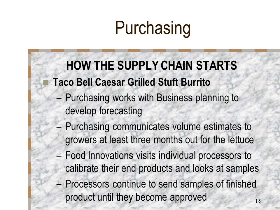 17 Purchasing HOW THE SUPPLY CHAIN STARTS Taco Bell Caesar Grilled Stuft Burrito –Food Innovations develops the concept –Purchasing is part of the core team to guide them –Food Innovations develops product specifications –Purchasing selects strategic suppliers to develop the best practices in order to have the end results