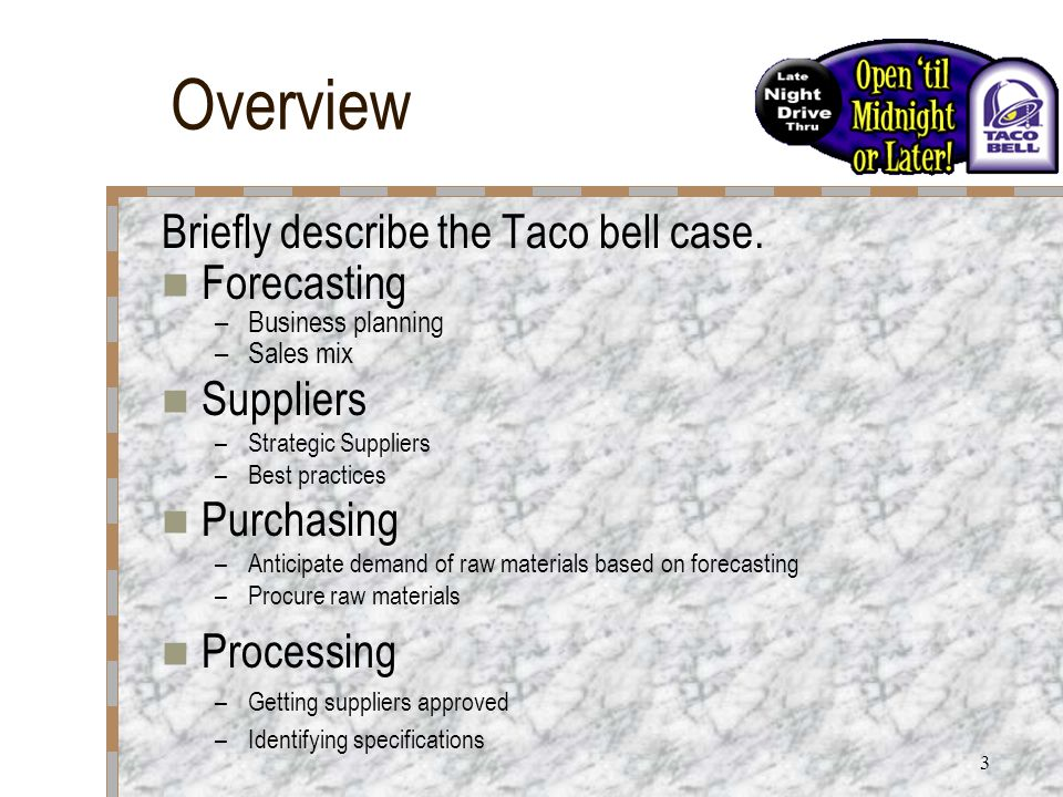 3 Overview Briefly describe the Taco bell case.