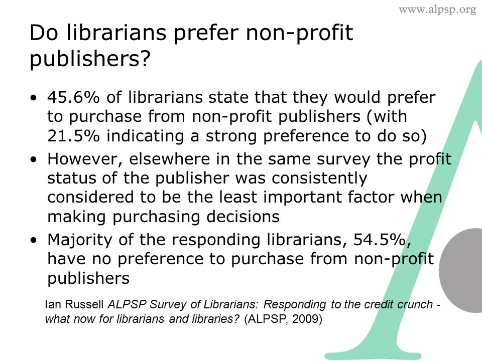 Do librarians prefer non-profit publishers? 45.6% of librarians state that they would prefer to purchase from non-profit publishers (with 21.5% indica