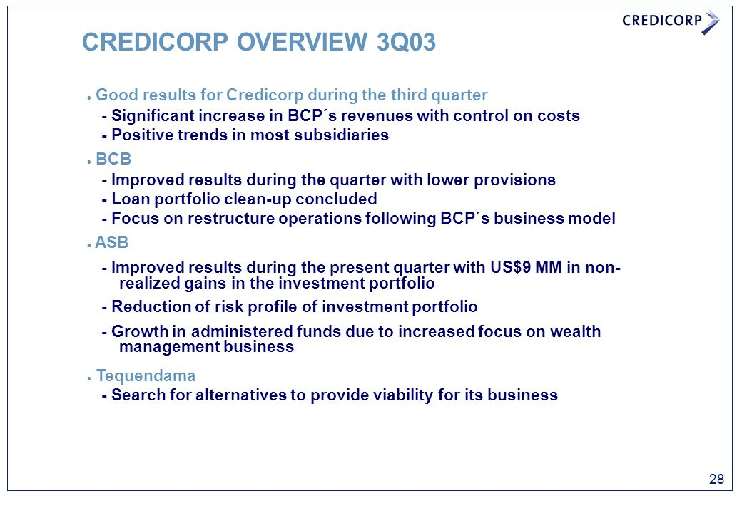 CREDICORP OVERVIEW 3Q03 l Good results for Credicorp during the third quarter - Significant increase in BCP´s revenues with control on costs - Positiv