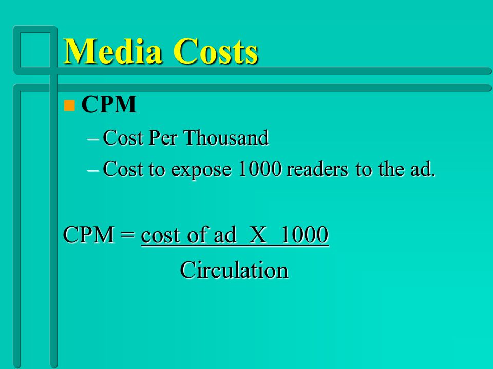 Media Costs n Radio –Network Radio Advertising: Broadcast from a studio to all affiliated radio stations. –National Spot Radio Advertising: Used by na