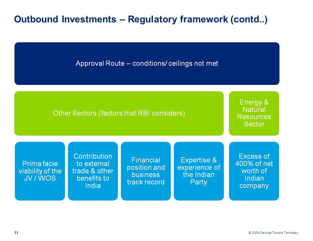 © 2009 Deloitte Touche Tohmatsu 11 Outbound Investments – Regulatory framework (contd..)