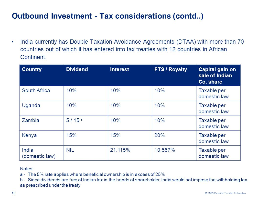 © 2009 Deloitte Touche Tohmatsu Outbound Investment - Tax considerations (contd..) India currently has Double Taxation Avoidance Agreements (DTAA) with more than 70 countries out of which it has entered into tax treaties with 12 countries in African Continent.