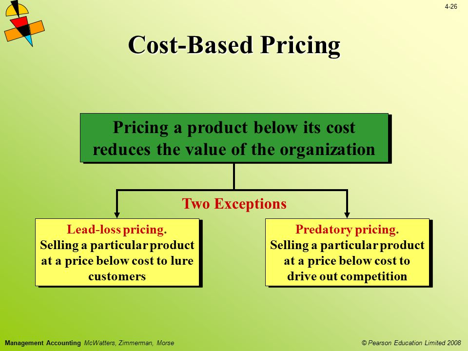 4-26 © Pearson Education Limited 2008 Management Accounting McWatters, Zimmerman, Morse Cost-Based Pricing Lead-loss pricing. Selling a particular pro