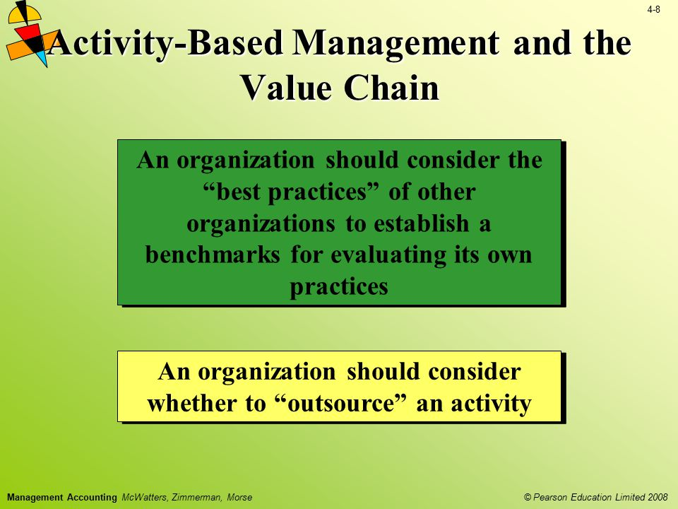 4-8 © Pearson Education Limited 2008 Management Accounting McWatters, Zimmerman, Morse Activity-Based Management and the Value Chain An organization s