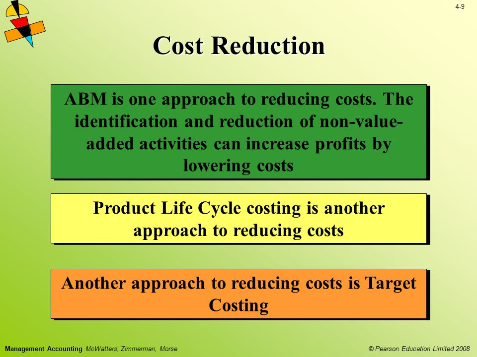 4-9 © Pearson Education Limited 2008 Management Accounting McWatters, Zimmerman, Morse Cost Reduction ABM is one approach to reducing costs. The ident